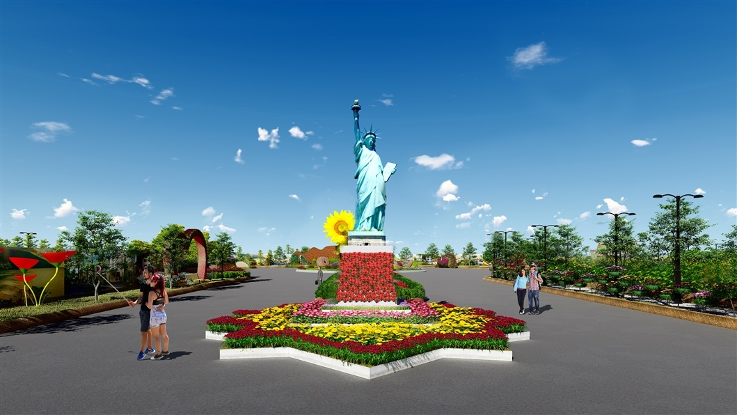 """Du khách sẽ được du ngoạn """"vòng quanh trái đất"""", chiêm ngưỡng mô hình 7 kỳ quan nổi tiếng thế giới được phục dựng bằng hoa tươi,"""