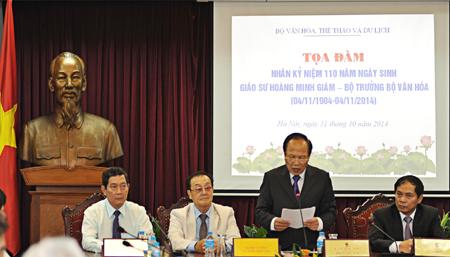 Bộ trưởng Hoàng Tuấn Anh phát biểu tại Toạ đàm kỷ niệm 110 năm Ngày sinh Giáo sư Hoàng Minh Giám - Bộ trưởng Bộ Văn hoá